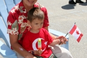 Joah Auge, 3, enjoyed the free live entertainment alongside his grandma, Brenda Auge. Photo Erin Perkins.